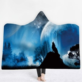Wolf Howling and Natural Scenery Blue 3D Printing Polyester Hooded Blanket