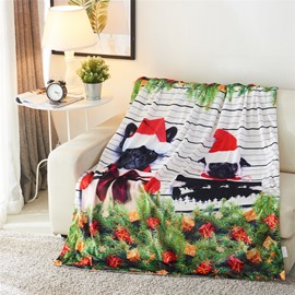 Christmas Gifts and Black Dogs Printing 3D Blanket