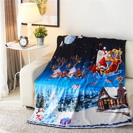 Santa Sleigh Reindeer Flying Over Winter Countryscape 3D Printed Blanket