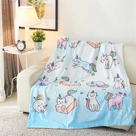 Cartoon White Cat with Horn Printed 3D Blanket