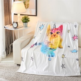 Rainbow Cat with Horn and Stars Printed 3D Blanket