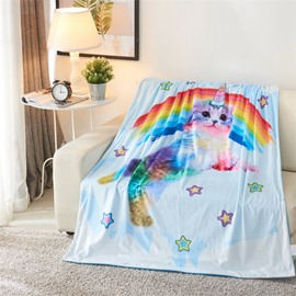 Rainbow and Lovely Cat 3D Printed Polyester Blanket