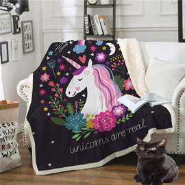 Unfaded and Double Thickened Unicorn Printed Warm Blankets