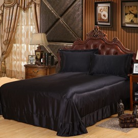 Solid Color Cool and Smooth Luxurious Style Silky Flat Sheet