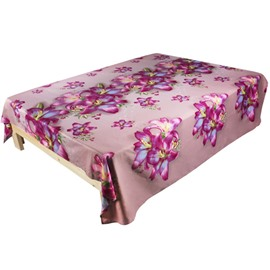 Sweet Lifelike Pink Lily 3D Printed Cotton Flat Sheet