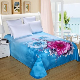 Pastoral Style Bright Peony Blue Printed Sheet