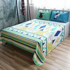 Modern Design Cotton Flat Sheet and 2-Piece Pillowcases