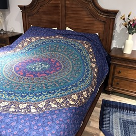 Marvelous Bohemian Style Mandala Pattern Print Versatile Cotton Sheet