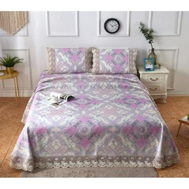 Diamond Shape Design Lace Printing 3-Piece Polyester Summer Sleeping Mat Sets