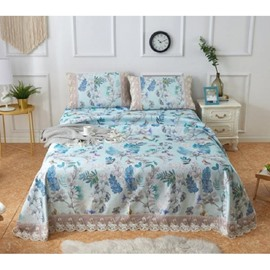 Green Flower-filled Soft Polyester Printing Lace 3-Piece Summer Sleeping Mat Sets