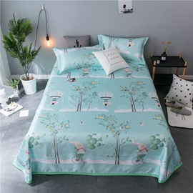 Happy Elephant and Natural Scenery Cooling Printing 3-Piece Summer Sleeping Mat Sets