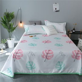 Pink and Green Leaves Plain Polyester Cooling Printing 3-Piece Summer Sleeping Mat Sets