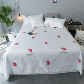 Strawberry and Plaid Pattern Polyester Printing Cooling 3-Piece Summer Sleeping Mat Sets
