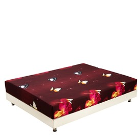 Beautiful Butterfly Flying over Flowers Print 3D Dark Red Fitted Sheet