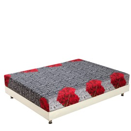 Fashion Elegant Red Flowers Print 3D Fitted Sheet
