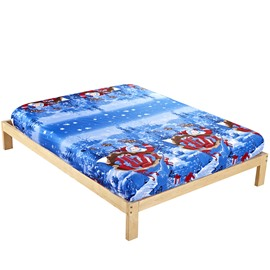 Christmas Gift Red Santa Claus Reactive Print Cotton Fitted Sheet