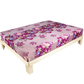 3D Pink Lily Printed Cotton Fitted Sheet