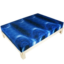 Unique Blue Celestial Body Print Fitted Sheet
