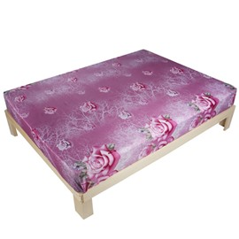 Excellent Pink Rose Print 3D Fitted Sheet
