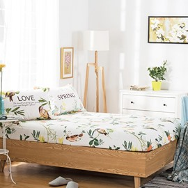 American Pastoral Style Birds and Flowers Print Cotton Fitted Sheet