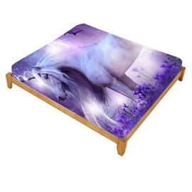 Super Lifelike Unicorn and Fairies Printed Cotton Fitted Sheet