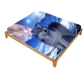 3D Mountain Wolf Printed Cotton Fitted Sheet