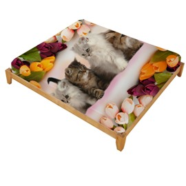 3D Kittens and Colorful Tulips Printed Cotton Fitted Sheet