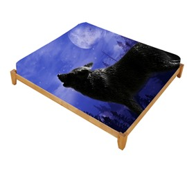 3D Howling Wolf Printed Cotton Fitted Sheet