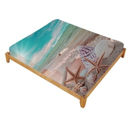 Onlwe 3D Starfish and Shells Fairies Printed Cotton Fitted Sheet