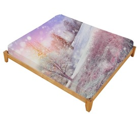 3D Winter Forest Printed Cotton Fitted Sheet