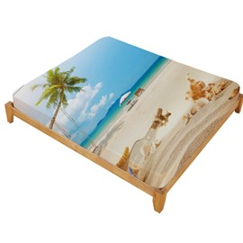 3D Starfish and Drift Bottle Printed Beach Style Cotton Fitted Sheet