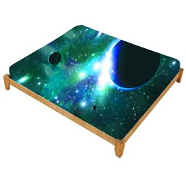 3D Galaxy and Celestial Body Printed Cotton Elastic Fitted Sheet Colorfast/Wear-resistant Mattress Cover