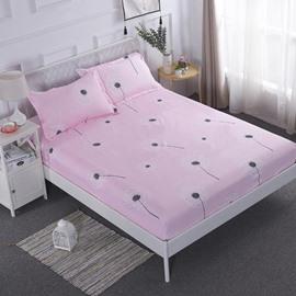 Dandelion Printed Sweet Pink Waterproof Fitted Sheet