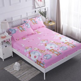 Cartoon Animal Printed Pink Breathable Waterproof Fitted Sheet