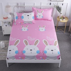 Cartoon White Rabbit Printed Waterproof Hypoallergenic Pink Fitted Sheet