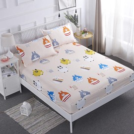 Cartoon Animal Printed TPU Waterproof Breathable Fitted Sheet