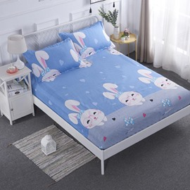 Cartoon Rabbit Printed TPU Waterproof Breathable Blue Fitted Sheet
