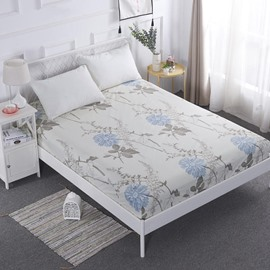 Blue Flower Printed TPU Waterproof Breathable Fitted Sheet