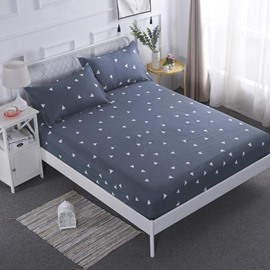 Simple Triangle Printed TPU Waterproof Breathable Grey Fitted Sheet