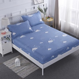 Cartoon Clouds Printed Blue TPU Waterproof Breathable Fitted Sheet