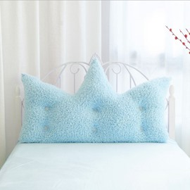 Oversized Crown Shape Soft Sky Blue Velvet Thick Decoration Backrest Cushion for Bed/Sofa