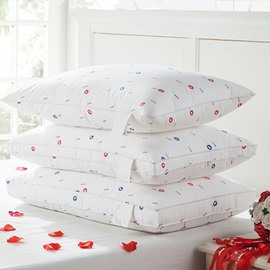Sexy Red Lips and Letters Print 2-Piece Quilted Bed Pillows