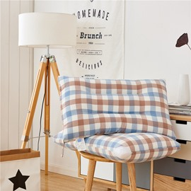 Simple Style Plaid Pattern One Piece Cotton Bed Pillow