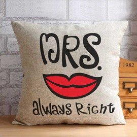 Mr Right Mrs Always Right Whisker Lip Pattern Throw Pillow