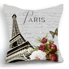 Beautiful Paris Eiffel Tower and Flowers Print Throw Pillow