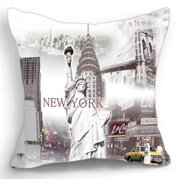 American Statue of Liberty and New York City Print Throw Pillow
