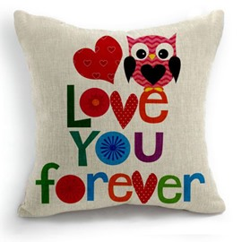 Cute Love You Forever Letters and Owl Print Throw Pillow