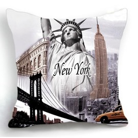 New York Famous Scenic Spots Print Throw Pillow