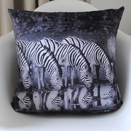 New Arrival Beautiful Zebra Drinking Water Print Throw Pillow