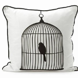 Modern Style Bird in a Cage White Color Throw Pillow